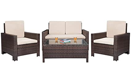 Homall 4 Pieces Outdoor Patio Furniture Sets Rattan Chair Wicker Set,Outdoor Indoor Use Backyard Porch Garden Poolside Balcony Furniture (Large)