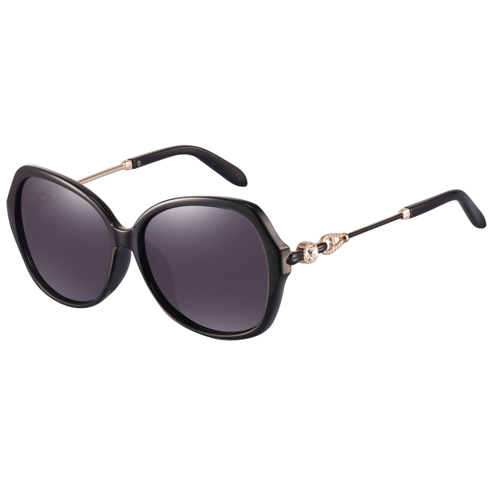 Women`s Polarized Sunglasses for Women - FEIDU Polarized Sunglasses for Women Sunglasses FD2151 (black-round dm, 63) by FEIDU