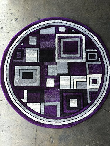 Contempo Modern Round Contemporary 400,000 Point Abstract Area Rug Purple Design 125 (5 Feet 3 Inch X 5 Feet 3 Inch)