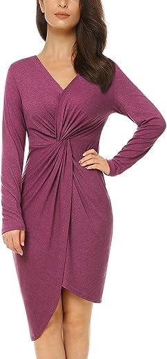 فستان Mixfeer نسائي كاجوال ضيق متوسط الطول مكشكش قميص فستان حفلة ملفوف بأكمام طويلة وردي