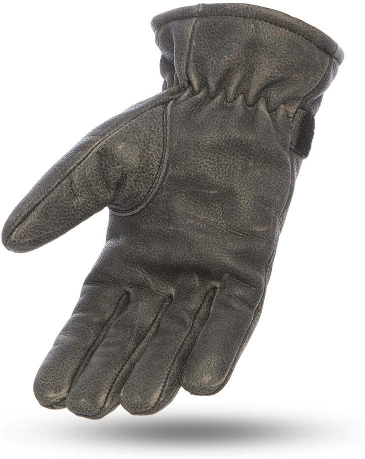 First Mfg Co Mens Teton Leather Motorcycle Gloves Distressed Black Large First Manufacturing FI205-Distressed Black-L-Teton