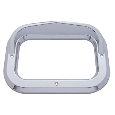 United Pacific Rectangular Light Bezel with Visor - Chrome Colored, Model 10485: Automotive