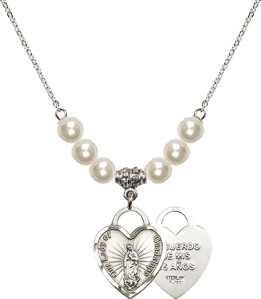 Recuerdo Charm. 18-Inch Rhodium Plated Necklace with 6mm Sterling Silver Beads and Sterling Silver Our Lady of Guadalupe Heart
