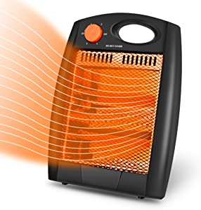 Portable Space Heater, Indoor Electric Heater with 2 Heat Settings, Infrared Radiant Quartz Heater without Fan, Quiet and Light Space Heater with Tip-Over & Overheat Protection, Warm up Immediately