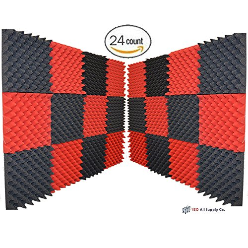 24-pk-25x12x12-red-charcoal-soundproofing-foam-acoustic-eggcrate-tiles-studio-foam-sound-wedges