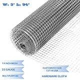 E&K Sunrise 36'' x 94' Hardware Cloth 1/4 inch 23 Gauge Wire Mesh Galvanized for Garden Plant Rabbit Chicken Run Chain Link Fencing Guard Cage - Customize Available