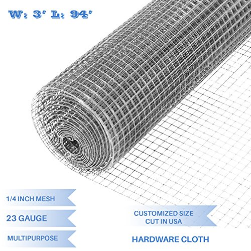 E&K Sunrise 36'' x 94' Hardware Cloth 1/4 inch 23 Gauge Wire Mesh Galvanized for Garden Plant Rabbit Chicken Run Chain Link Fencing Guard Cage - Customize Available by E&K Sunrise