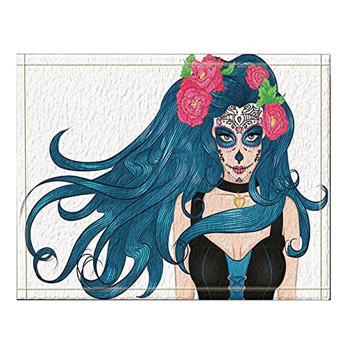 NYMB Halloween Decor, Girl with Makeup Mexican Sugar Skull and Flowers in Long Hair Bath Rug, Non-Slip Floor Entryways Outdoor Indoor Front Door Mat,15.7x23.6in Bath Mat Bathroom Rugs ()