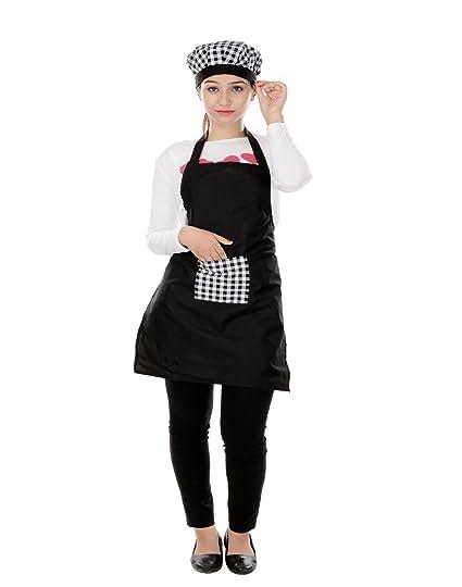 Switchon Waterproof Black Kitchen Apron With Cap