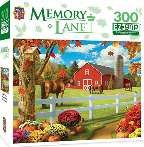 MasterPieces Memory Lane Rolling Pastures - Barn with Horse Large 300 Piece EZ Grip Jigsaw Puzzle by Alan Giana