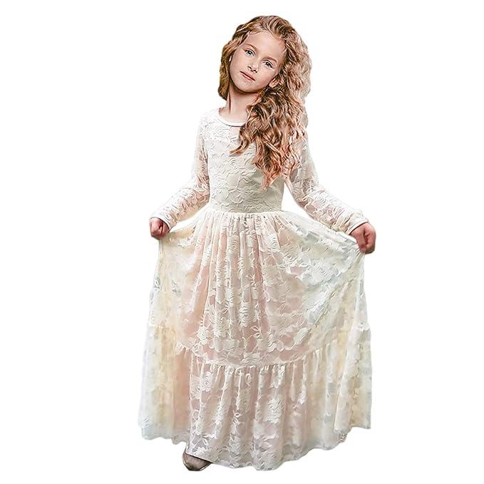 ce307147d Vestidos de Flores para Bodas Vestido de Encaje de Flores para niñas Vestido  de Flor Blanca Vestido de Dama de Honor Bautizo con Lazo Grande  Amazon.es   ...