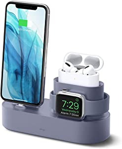 elago 3 in 1 Charging Station for Apple Products, Designed for Apple AirPods Pro, iPhone 11 Pro Max/11 Pro, All Apple Watch Series [Original Cables Required-NOT Included] (Lavender Grey)