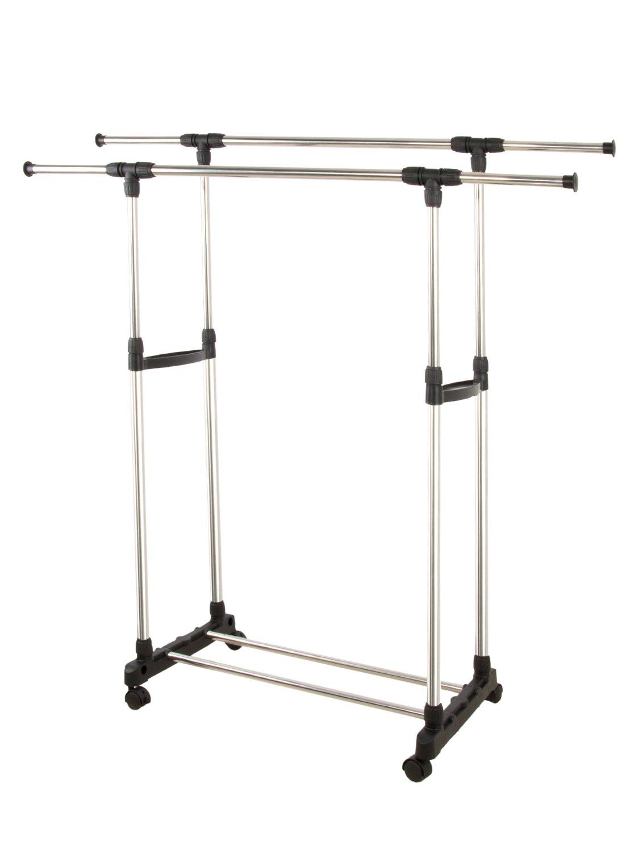 Clothes Garment Rack on Wheels Metal Portable Modern Storage Multiple Shelf Rolling Extendable Organizer,2 rods