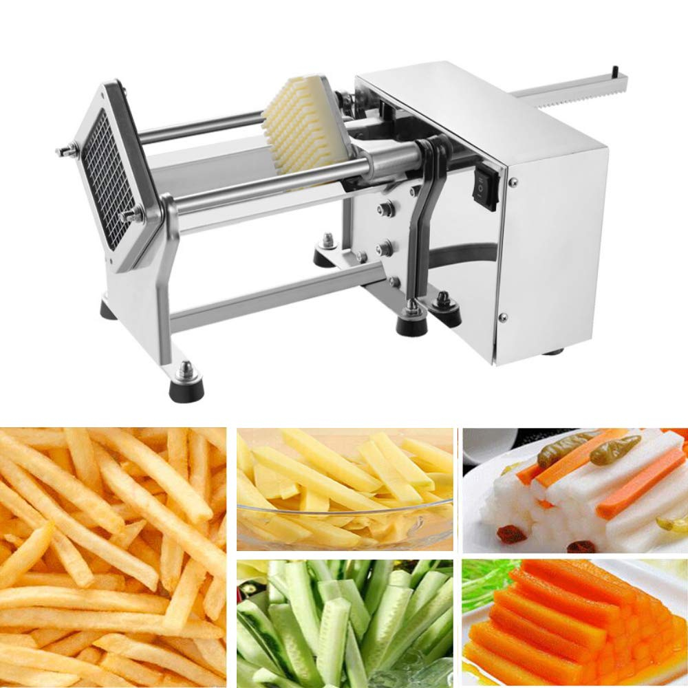 Electric Potato Cutter - Automatic French Fries Cutter Slicer Stainless Steel Potatoes Cucumbers Carrots Cutting Machine Fries Chips Maker with 3 Sizes Blade Mould by DEJUN