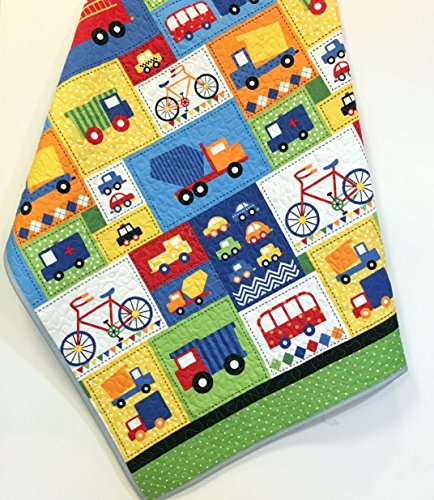 Baby Boy Crib Quilt Handmade Trucks Cars Bikes Nursery Bedding by Carlene Westberg Designs