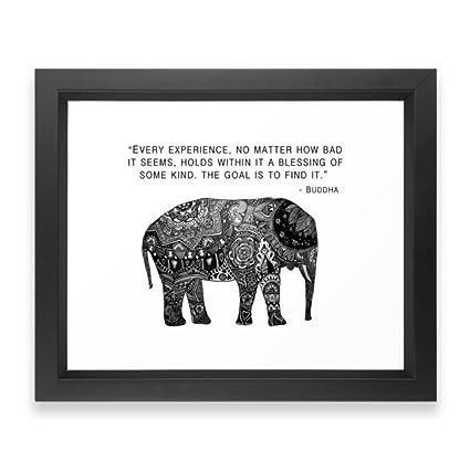 Amazon.com: Society6 Buddha Quote With Henna Elephant Framed Print ...
