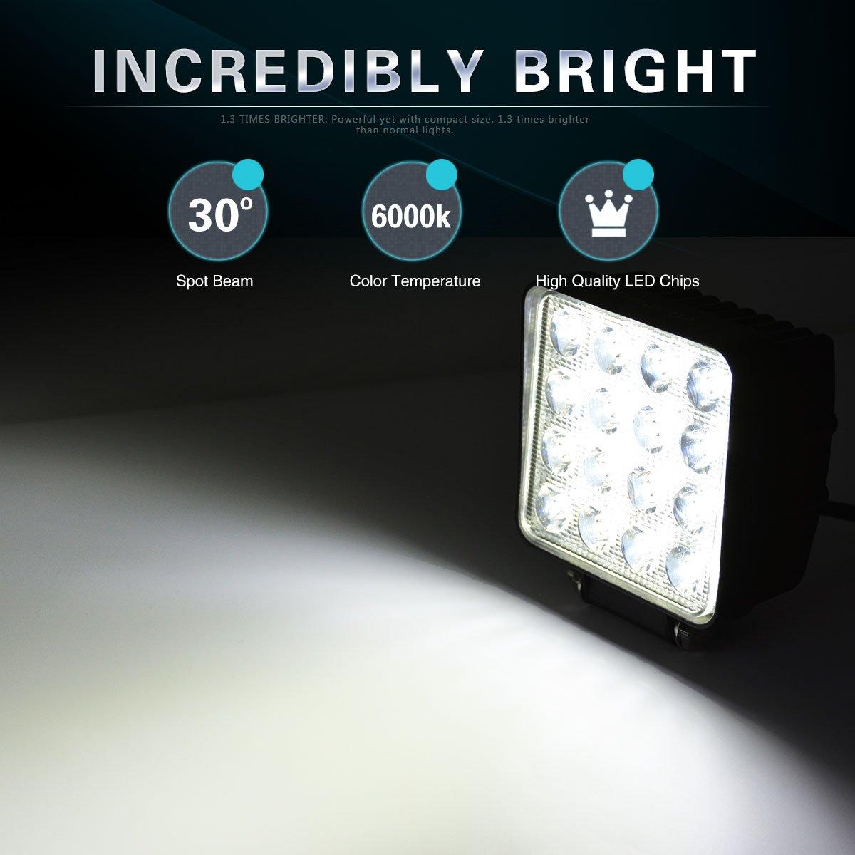 OEDRO 4 Inch LED Work Lights 48W 6000K Spot Beam LED Light Pod Fog Driving Light Bar Compatible for SUV 4WD 4X4 UTE ATV Pickup Truck Jeep Off Road Boat
