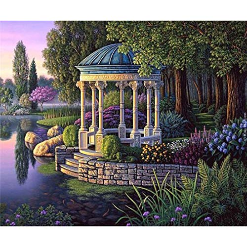 5D Embroidery Paintings Rhinestone Pasted DIY Diamond painting Cross Stitch (River Forest Pavilion) 16x12 inch / 40x30 cm