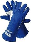 WelderTec 385 Profi MIG/MAG Schweißerhandschuh, Rinder-Leder Hitzehandschuh, komplett gefüttert, extra verstärkt, Premium Qualität, Typ A, Blau, Größe 10