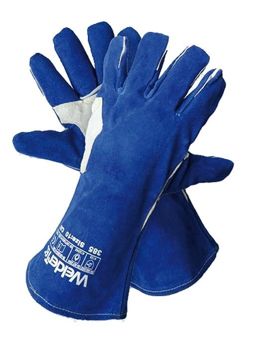 WelderTec 385 ganado piel profesional MIG/MAG soldadura guante resistente al calor guantes, forradas