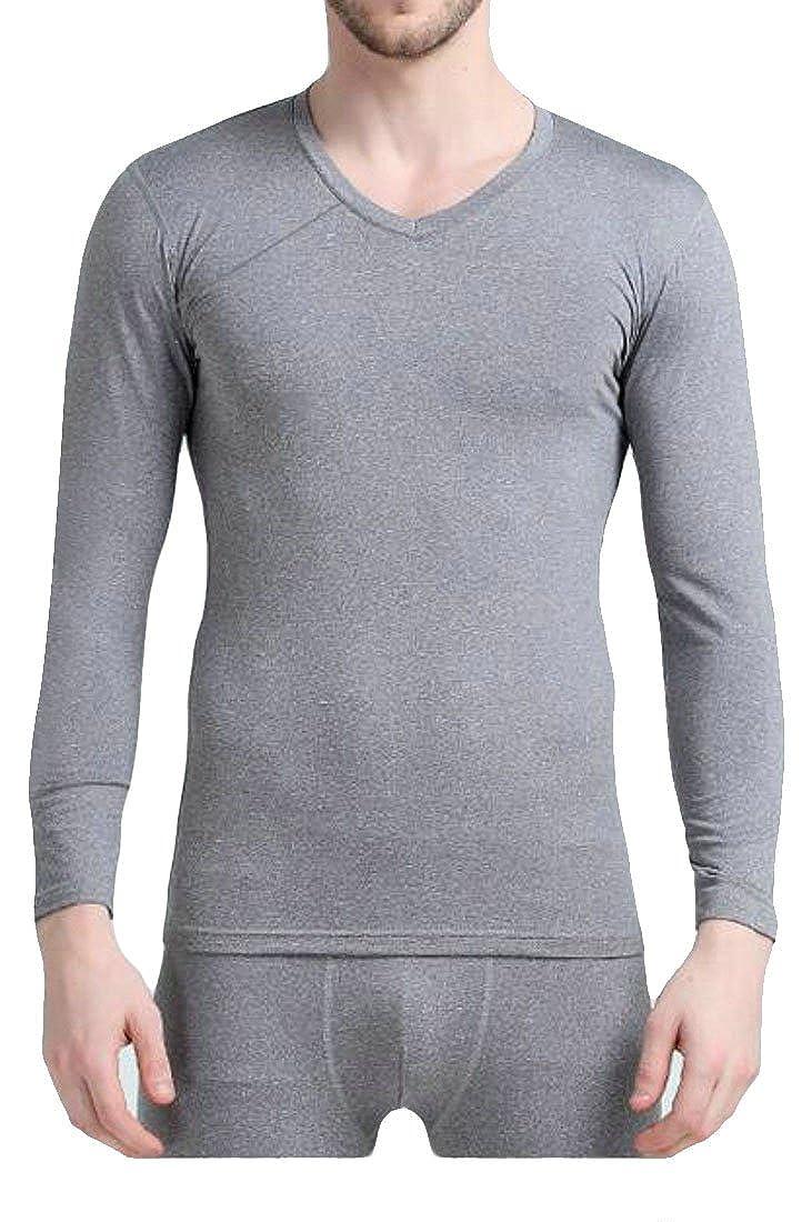 Pandapang Men's Basic V Neck Long Sleeve Cotton Thermal Underwear Sets
