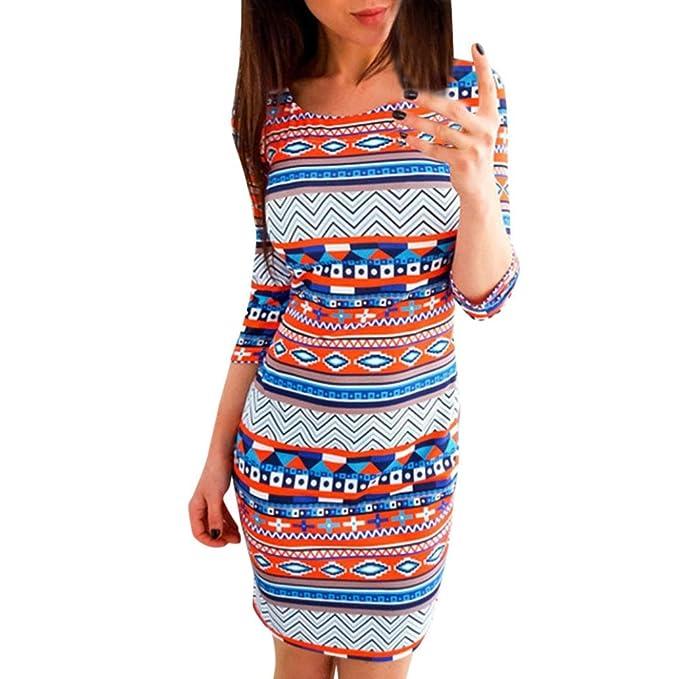 726b93370ef8 ❤Fuibo Damen Kleid, Frauen Ptinted O-Neck 3 4 Ärmeln Skinny Slim Bleistift  sexy Boho Mini Dress ❤ Sommer kleid Abend kleid Party kleid Cocktail kleid   ...