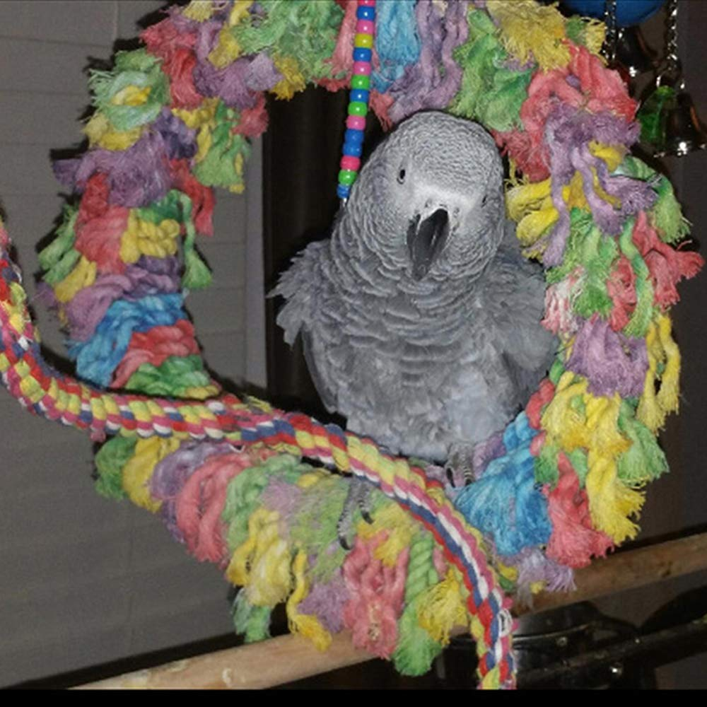 Binglinghua Large Bird Ring Toy Parrot Preening Grooming Play Exercise Chew Cotton Snuggle by Coco*Store Binglinghua