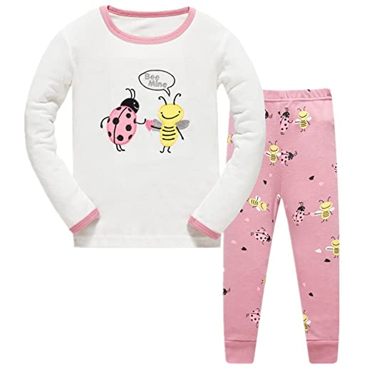 2688eaeea4 Amazon.com  Girls Pajamas Children Pjs Kids Rib Long Sleeves Cotton Clothes  Set  Clothing
