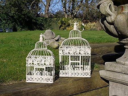 D Ornament - Jaula para pájaros de pie de metal blanco envejecido ...
