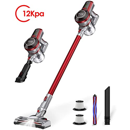 Cordless Stick Vacuum Cleaner, Muzili 12Kpa Hardwood Floor Carpet Vacuum Sweeper, 4 in 1 Wireless Vacuum Cleaner Pet Hair, Longer Run Time, LED Motorized Brush, Rechargeable Battery, 3lbs Lightweight