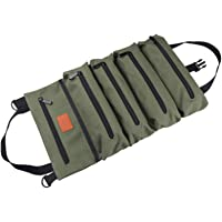 Staright Canvas Roll-up Tool Bag, Multi-Purpose Tool Roll Pouch Tool Organizer with 5 Zipper Pockets Carrier Bag for Car…