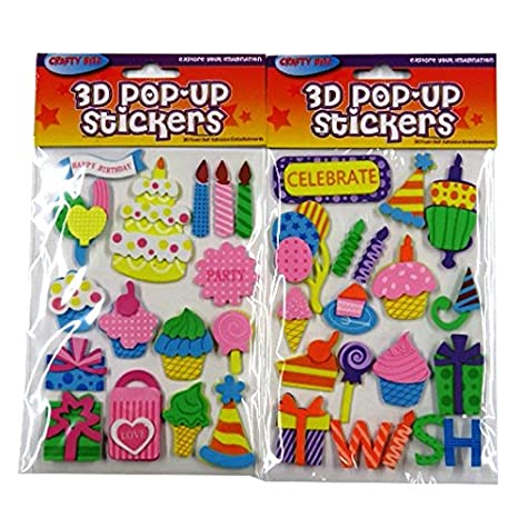 3d Pop Up Espuma feliz cumpleaños pegatinas, 2 paquetes, 35 ...
