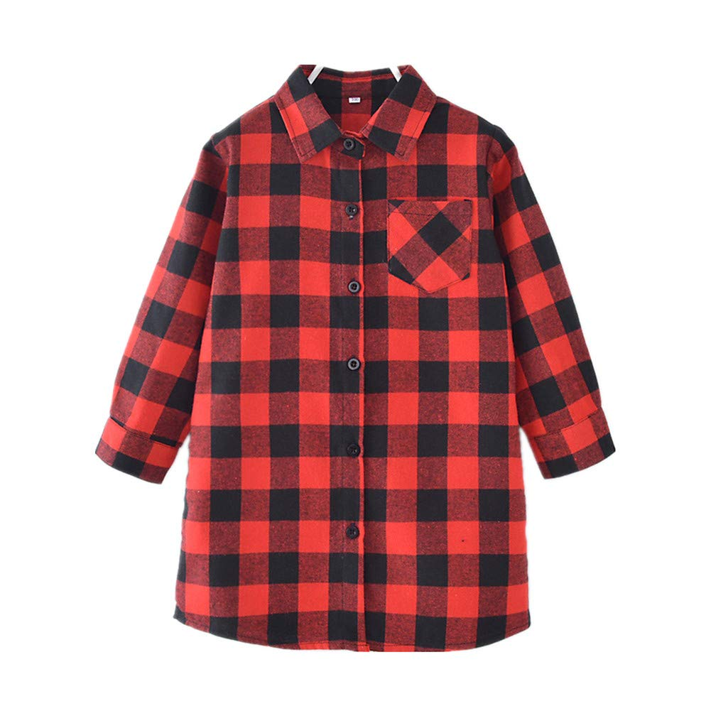 BESTLA Baby Kids Girl Long Sleeve Plaids Checked Party Princess Dresses