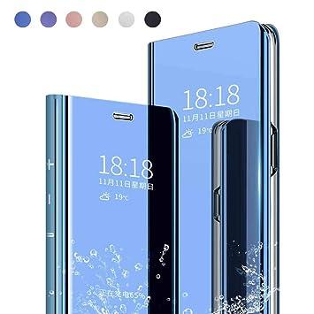 Yutwo Funda Reemplazo para Samsung Galaxy S6 Edge Plus Funda, Flip Tapa Libro Carcasa Modelo Fecha Espejo Brillante tirón del Duro Case Espejo Soporte ...