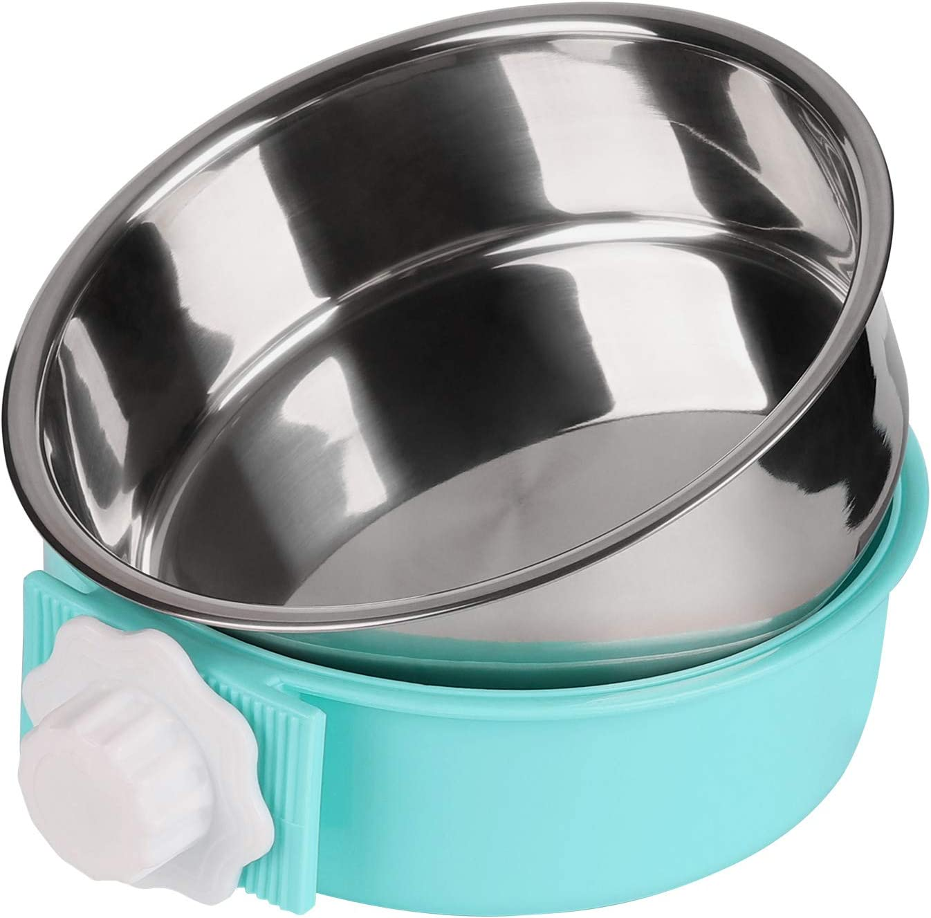 Petworld Paragon Detachable 2in1 Dog Crate Water Bowl no Spill Removable Hanging-on Dog Food Bowls Stainless Steel pet Feeder Suitable for Dog Cat Rabbit Bird