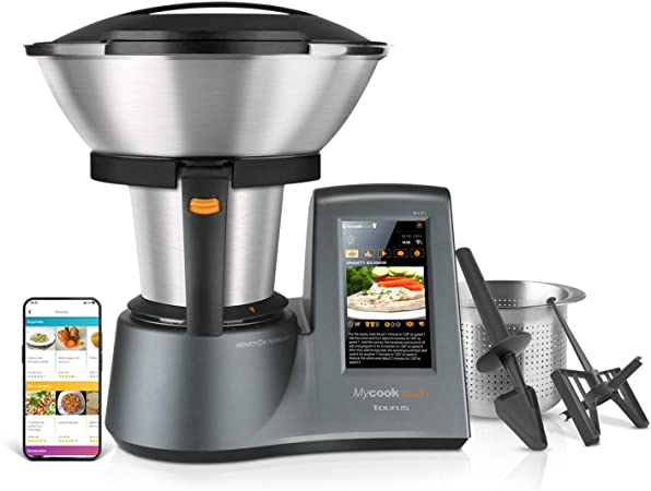 Taurus Mycook Touch Robot de Cocina, wifi, 1600 W, 2 L, hasta 140 grados, multifunción, más de 8000 recetas, Vaporera 2 niveles y cestillo de inox ...