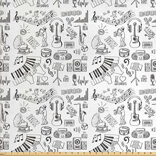 Lunarable Sketch Fabric by The Yard, Music Theme Pattern with Variety of Instruments Performers Notes and Little Birds, Decorative Fabric for Upholstery and Home Accents, 2 Yards, Black White -