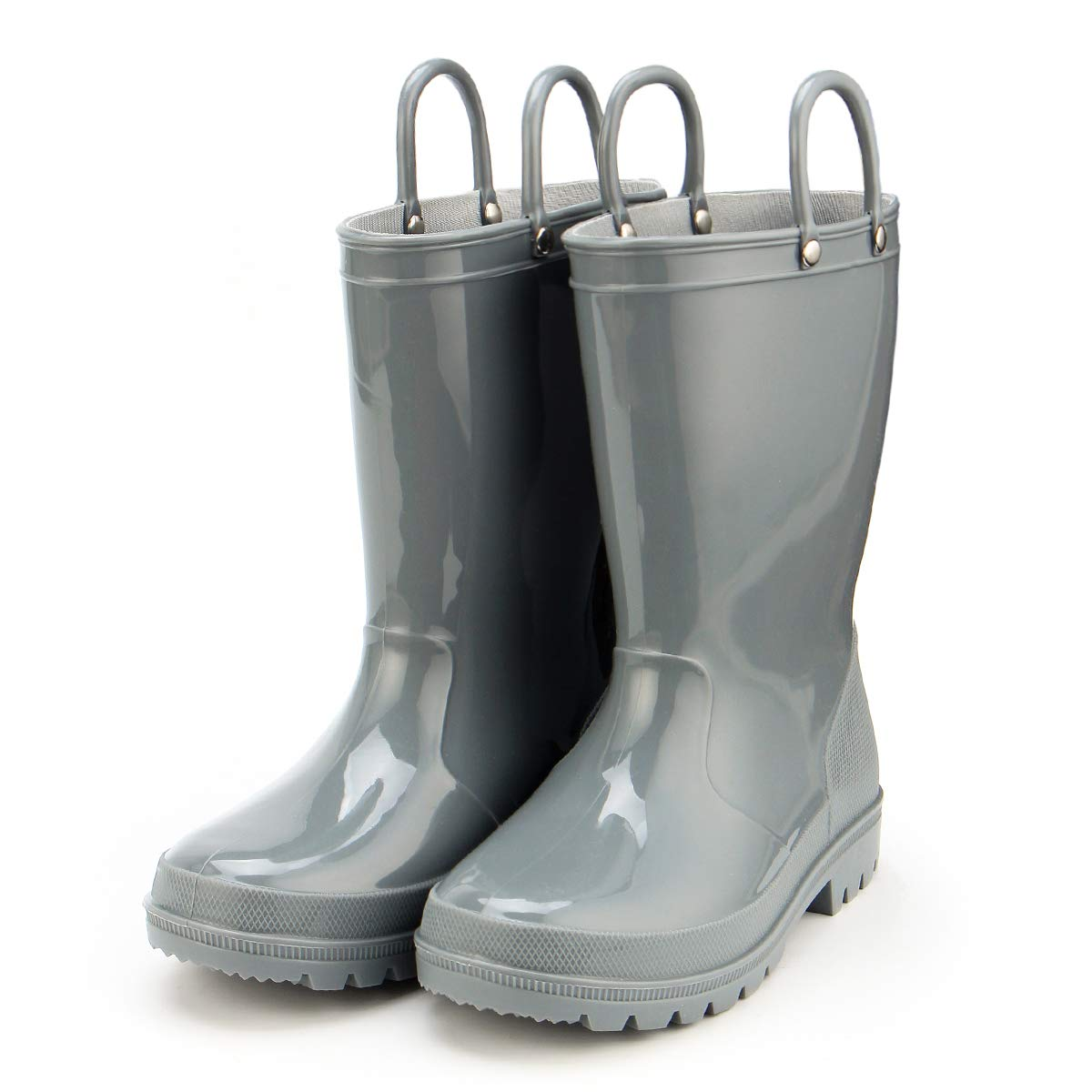 KomForme Kids Rain Boots, Environmental Material Boots with Memory Foam Insole and Easy-on Handles Grey by KKomForme (Image #1)