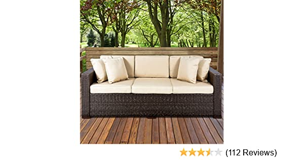outdoor furniture wicker. Modren Wicker Amazoncom  Best Choice Products 3Seat Outdoor Wicker Sofa Couch Patio  Furniture WSteel Frame And Removable Cushions  Brown Garden U0026 To