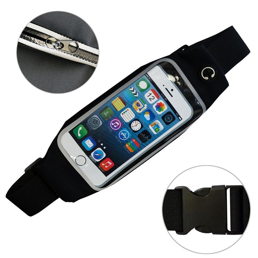 SOOKEY Sweatproof Running Waist Pack Workout Fitness Sport Waist Belt Pouch for Men and Women fit for iPhone 6 6S 7 Samsung Galaxy S7 S6 S5 S4