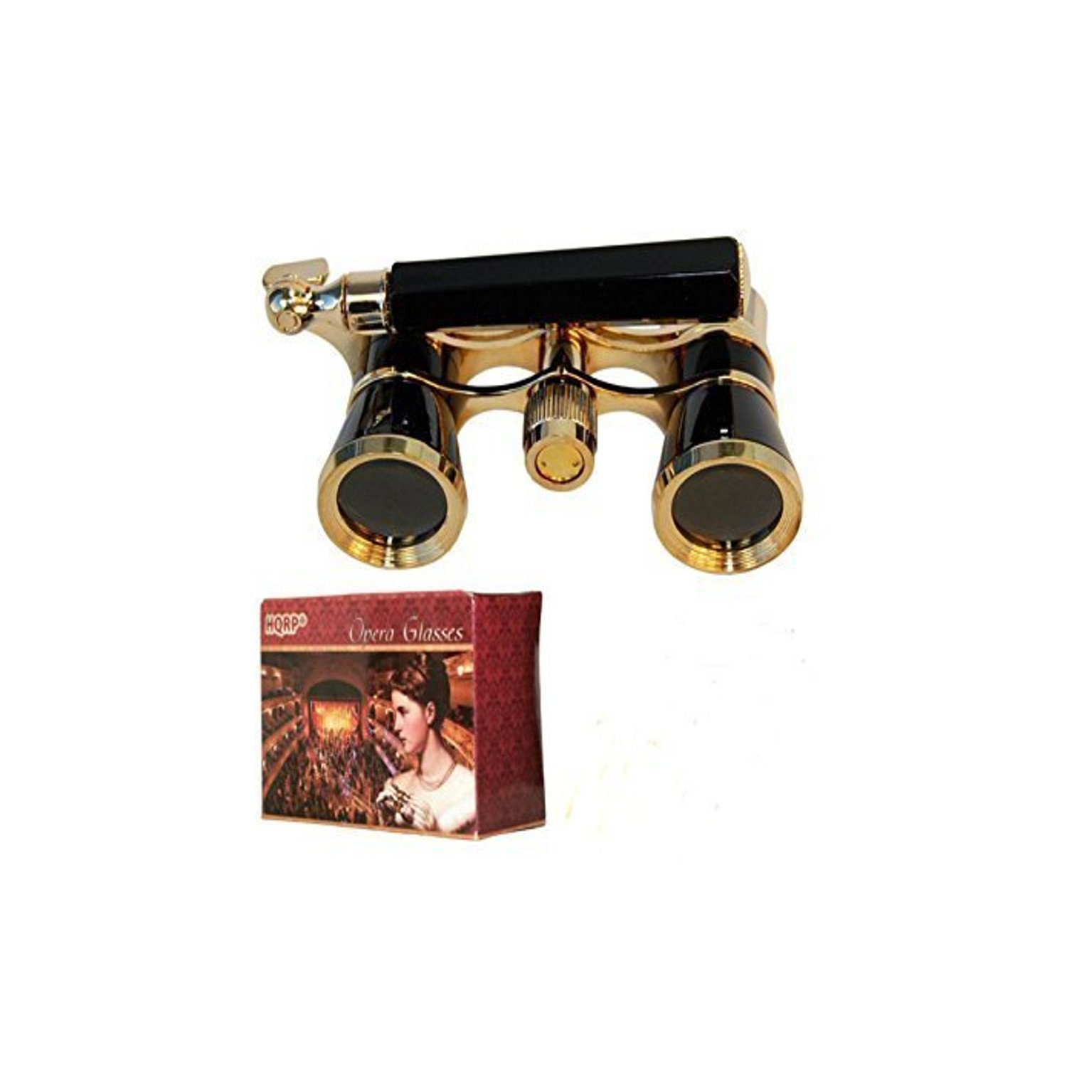 HQRP Opera Glasses Black with Gold Trim w/ Built-In Extendable Handle in Gift Box 884667801221808