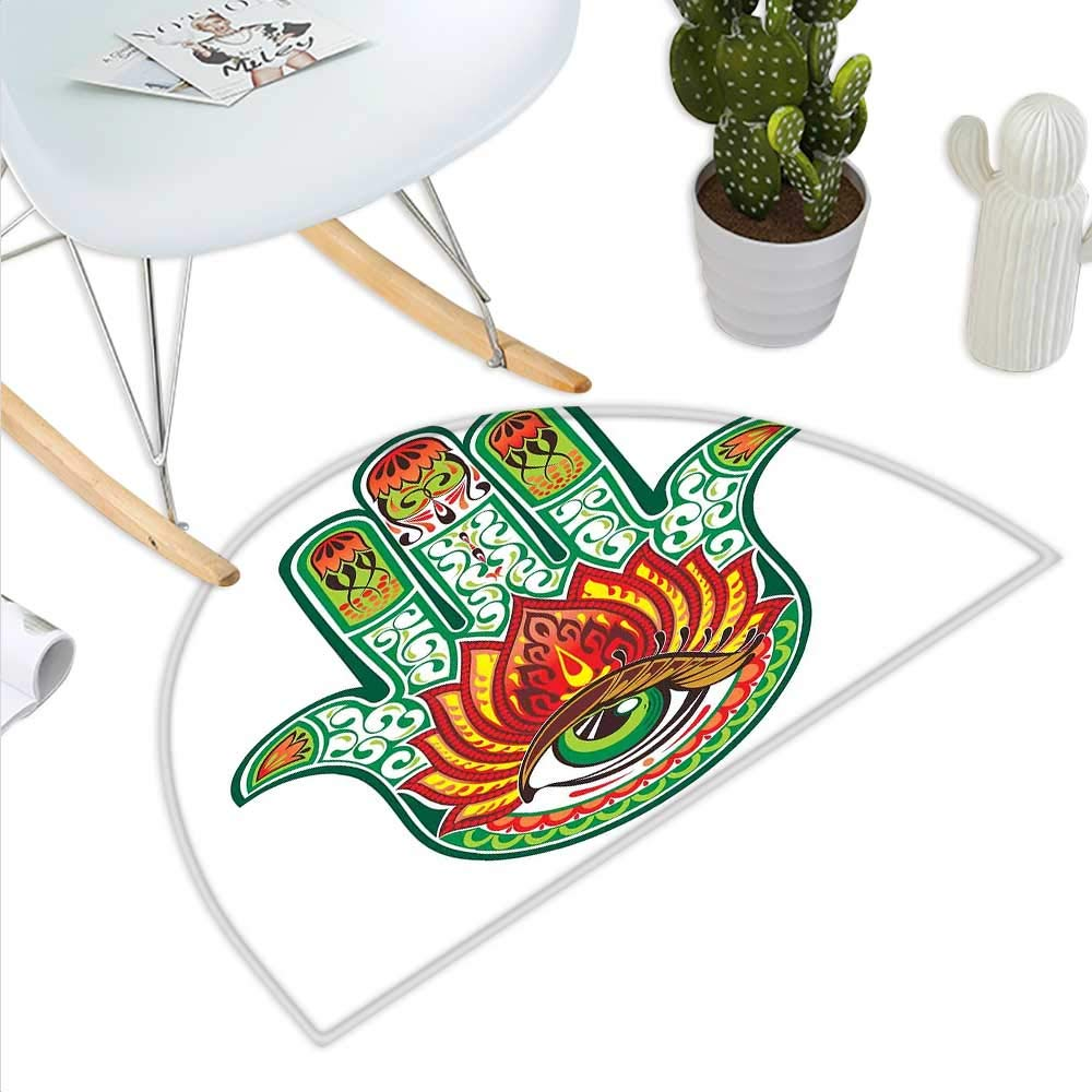 color08 H 35.4  xD 53.1  Hamsa Semicircle Doormat Mehndi Style Symbol in Round Mandala Oriental Artistic Ethnic Asian Floral Details Halfmoon doormats H 27.5  xD 41.3  Black White