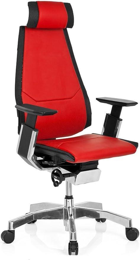hjh OFFICE 652853 Profi Bürostuhl GENIDIA PRO Leder Rot Hochwertiger Bürosessel, individuell einstellbar