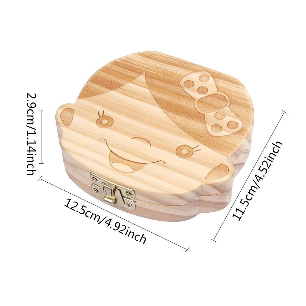 Holz Milchzahndose Deutsch Wort Zahnbox Z/ähnedose Haar Holzdose Jungen M/ädchen Souvenir Box Weihnachten Geschenk IWILCS Kinder Milchz/ähne Dose Jungen Muster