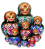 Rainbow Jewels 15 Piece Green Nesting Doll Russian Hand Crafted Original Babushka Doll. Signed by Artist