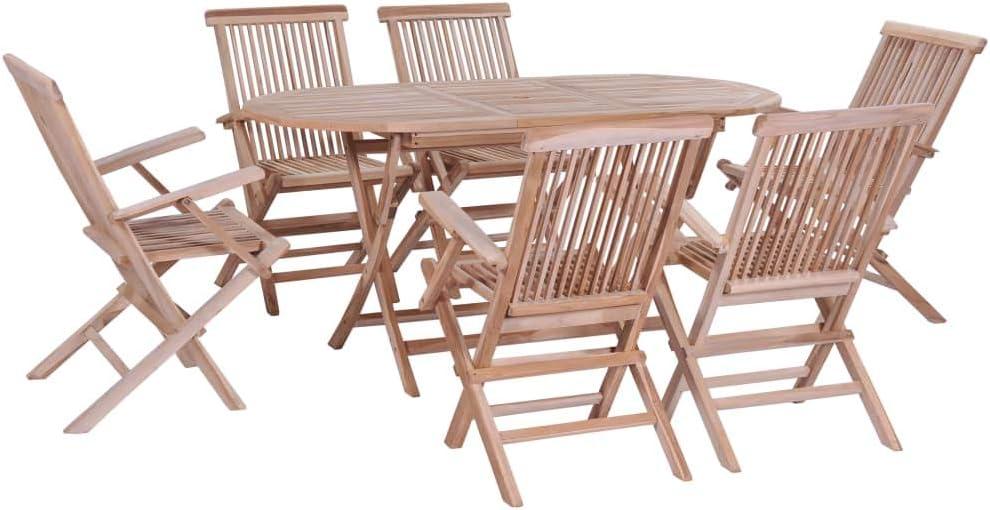 Festnight- Conjunto de Muebles de Comedor Mesa y Silla de Teca Maciza de Jardin Plegable 7 Piezas