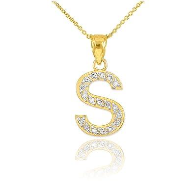 Amazon fine 14k yellow gold diamond initial letter s pendant fine 14k yellow gold diamond initial letter s pendant necklace 20quot aloadofball Choice Image