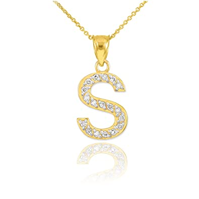 fine 14k yellow gold diamond initial letter s pendant necklace 16