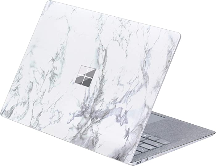 MasiBloom Top Side Laptop Sticker Decal for 13.5 inch Microsoft Surface Laptop 3 & 2 & 1 (2019/18/17 Released) Anti Scratch Skin, Not Compatible with Surface Book (Marble-White with Black)