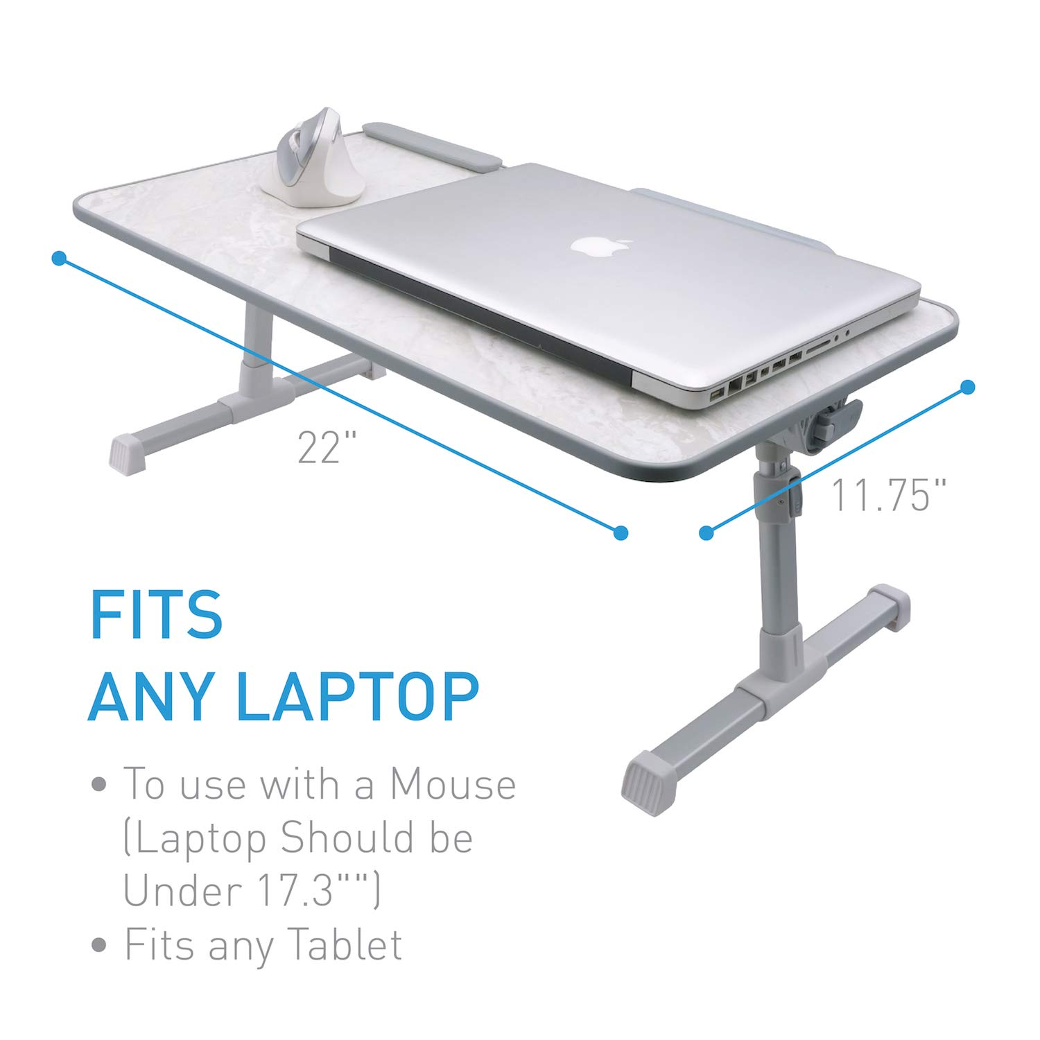 Macally Portable Laptop Table for Bed, [Large Size] Foldable & Height Adjustable Laptop Stand for Table - Sofa, Couch, Recliner - Folding Breakfast Tray Table with Legs, Notebook Lap Holder (Marble) by Macally (Image #3)